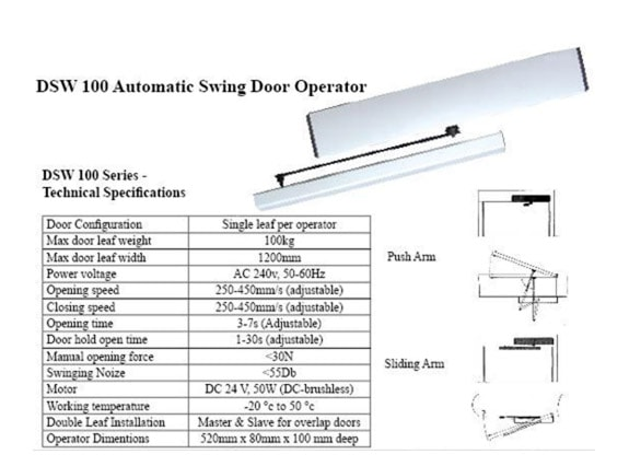 Dsw 100 Automatic Swing Door Operator