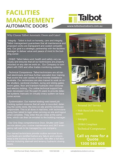 Talbot Facilities Brochure